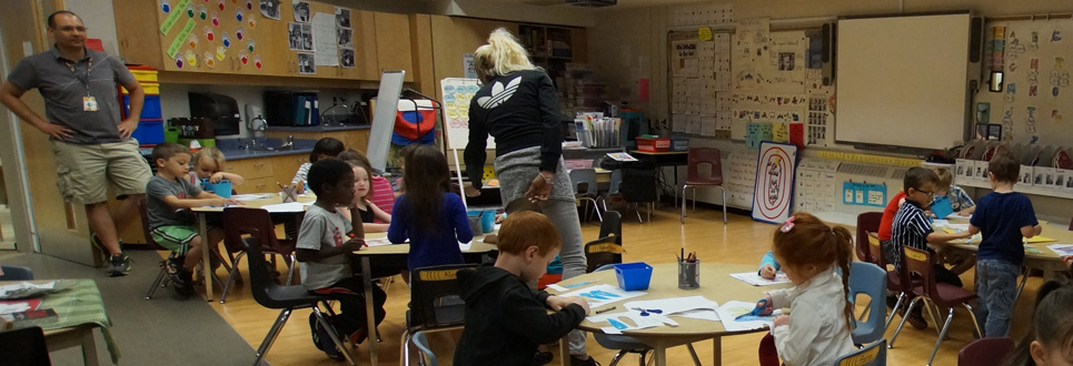 Kindergarten students at St. Thomas Aquinas Catholic School colouring and making crafts in class.